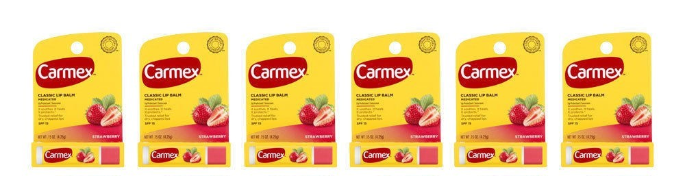 Carmex Classic Strawberry Lip Balm - Lot of 6 - SPF Exp. 9-18