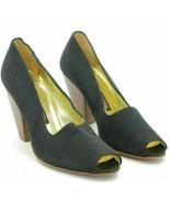 Walter Steiger Women Peep Toe Pump Heels Size US 6.5B Black Satin - $17.50
