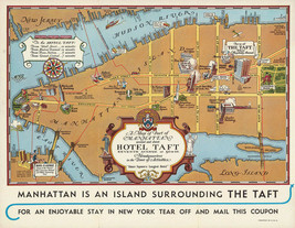 1932 Map Manhattan New York Hotel Taft History Vintage Wall Art Poster 1... - $12.38