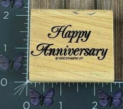 Stampin' Up! Happy Anniversary Rubber Stamp 1992 Elegant Script Wood Mount #W97 - $3.22