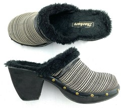 Skechers Womens Black Ivory Stripe Faux Fur Lined Clogs Mules Stud Detail Size 8 - $29.70