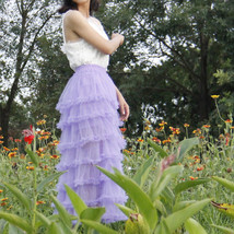 Women Purple Layered Tulle Skirt Outfit Plus Size Romantic Wedding Party Outfit  image 8