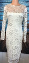 ASOS Sz 8 Ivory Lace Dress Midi Long Sleeve Tight - $49.35