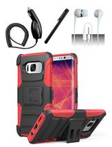 Samsung Galaxy S8 Black / Red Hybrid Armor Dual Layer Case w/ Kickstand Holster - $13.99