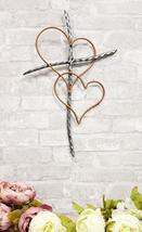 Ebros Metal Silver Rope Wire Sticks and 2 Golden Hearts of Love Wall Han... - $21.99