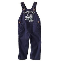 NWT Boys OshKosh Cotton Thinner Summer Blue Overall Train Bib Engineer C... - $12.28