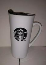 Starbucks Coffee Mug 2013 16oz White Ceramic Black Logo Lid - $11.87