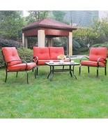 4 Piece Cushioned Set Outdoor Furniture Garden Patio Conversation Set wi... - $329.99