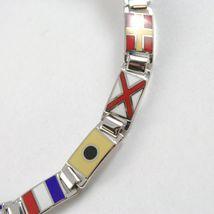 Bracelet Argent 925, Drapeaux Nautique Émaillés,Long 18 cm, Épaisseur 6 MM image 5