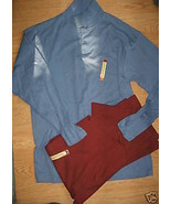 LOT of 2 Men HAGGAR Long Sleeve EZ'S Polo Shirt Size M blue Burgundy red... - $19.99