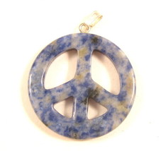 Simple Vintage White And Navy Blue Gemstone Peace Sign Necklace Pendant ... - $17.32
