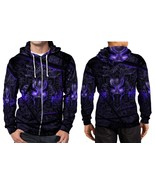 Black Panther Purple Neon Hoodie Zipper Fullprint Men - $51.99