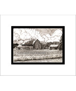 Columbia County Cornfield, Limited Edition, Matted, Pen and Ink Print - $34.00