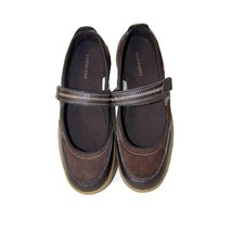 LANDS' END Comfort Shoes 7 Mary Jane Active Sporty Flats Brown Leather S... - $21.78