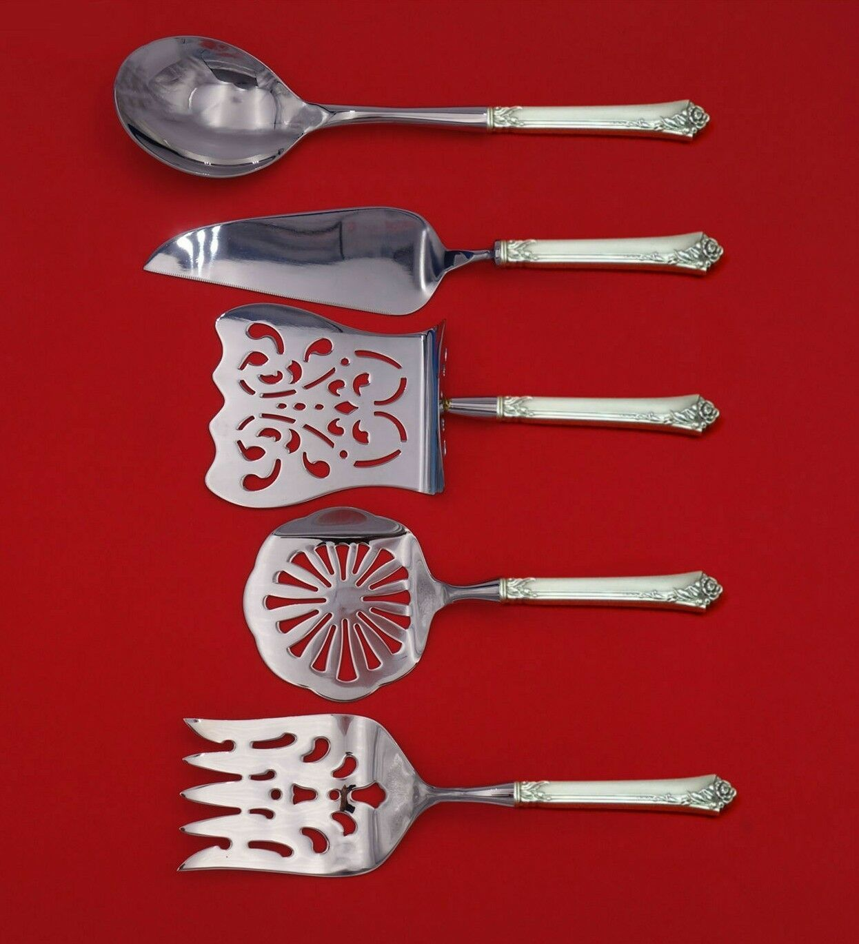 Primary image for Damask Rose by Oneida Sterling Silver Brunch Serving Set 5-Piece Custom Made
