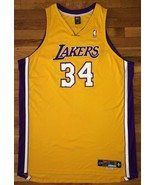 2000-01 Los Angeles Lakers Shaquille O'Neal Home Yellow Gold Pro Cut Jer... - $699.99
