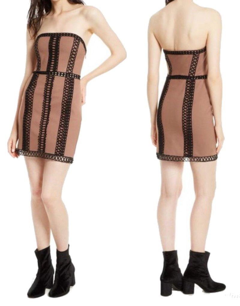 $250 Free People Forever French Dress 6 Medium Brown w Black Crochet Trim NWT