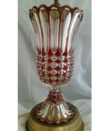 Vintage Ruby Red Stained Glass Accent Lamp Vase Shabby Chic w/ Matching ... - $222.75