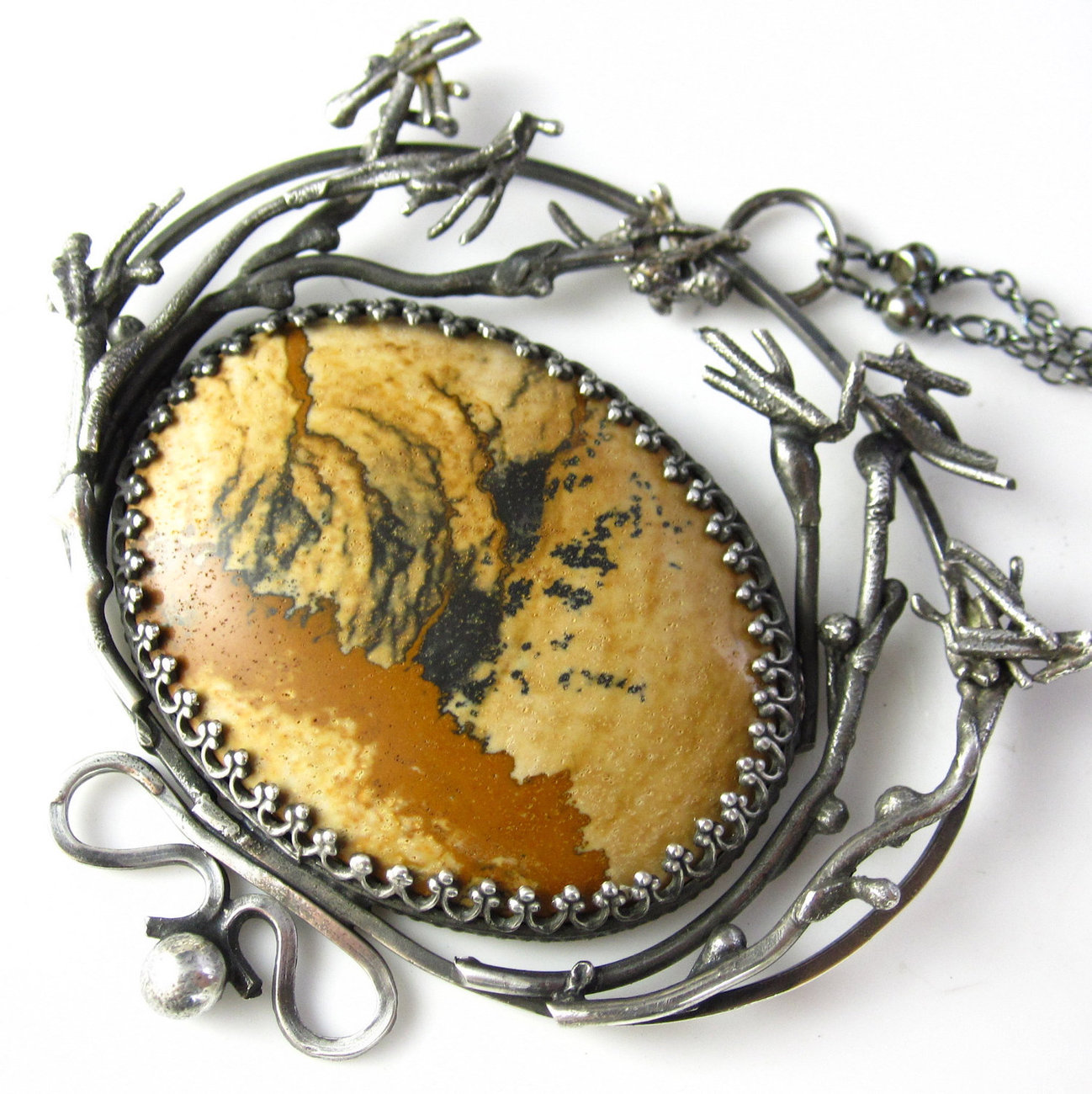 Desert Brush Necklace - Sterling SIlver  and African Queen Picture Jasper