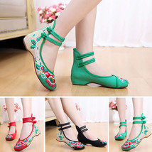 Womens Embroidery Chinese Style Dichotomanthes Bottom Flat Low Heel Life... - $8.77