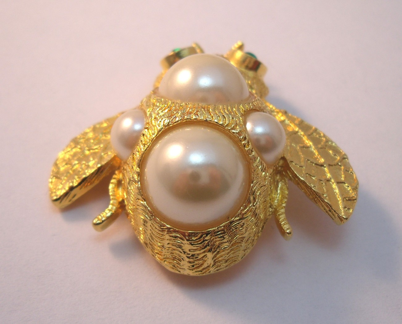 Ivana gold and pearl bumble  bee brooch.