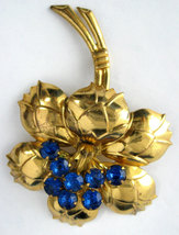 Figural Blue Rhinestones Flower Brooch Pin 1940s Gold Pin Large Statemen... - $34.00