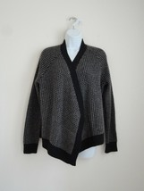 Nwt Eileen Fisher Charcoal Yak Wool Waffle Elbow Patch Cardigan Sweater Large L - $164.89