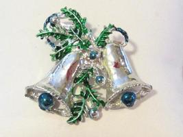 Vintage jewelry silvertone Christmas Bells brooch - $6.00