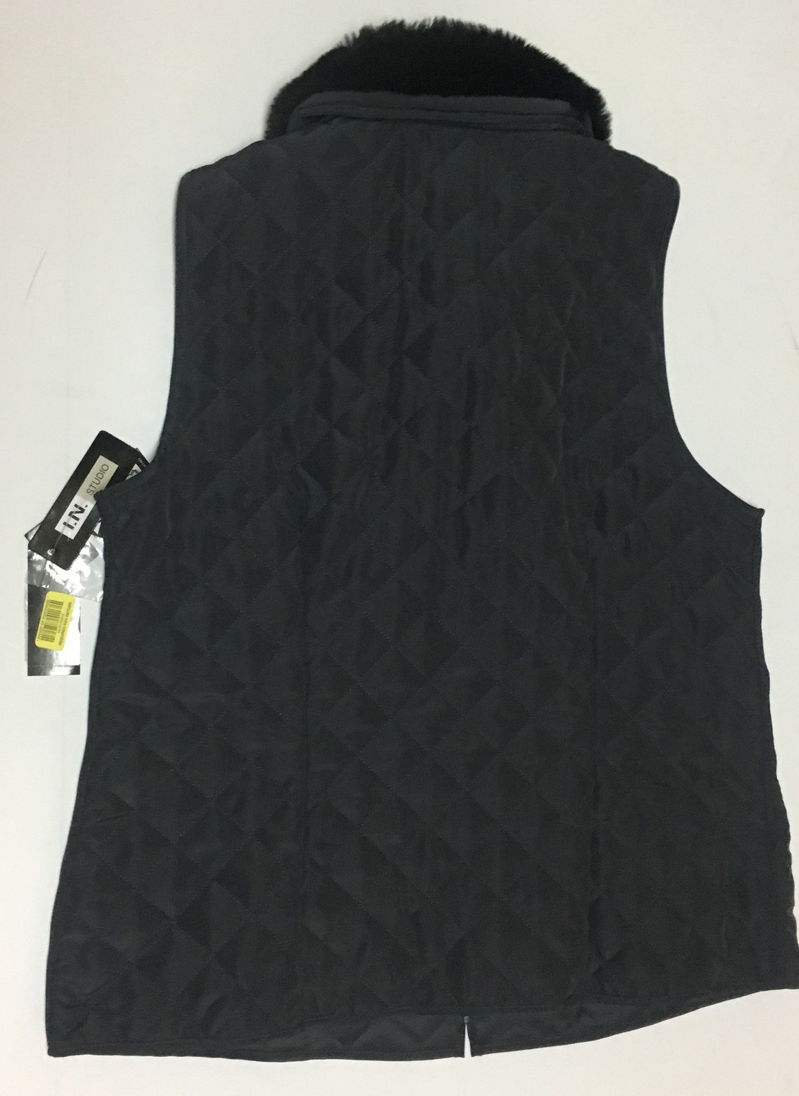 I.N. Studio Charcoal Brown Sleeveless Vest NWT Removable Fur Collar Sz L