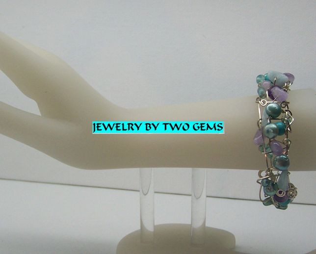 Jewelry By Two Gems (B23) Sterling Silver Teal Pearl, Turq , Amy & Fluorite Cuff