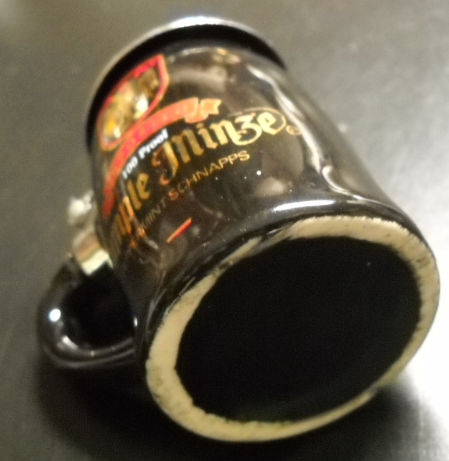 Rumple Minze Shot Glass Beer Stein Style Lid Black Ceramic Peppermint Schnapps