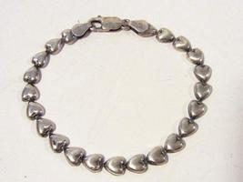 Sterling silver 925 Puffy Heart bracelet 7'' long - $18.00