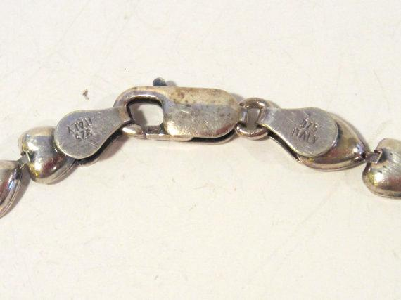 Sterling silver 925 Puffy Heart bracelet 7'' long