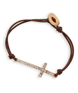 Double Strand Brown Leather Fashion Toggle Bracelet with Sideways Crysta... - $11.99