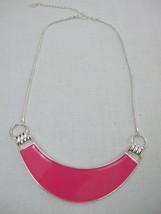 Robert Rose Crescent Bib Necklace Reversible Pink Enamel & Silver Side C... - $9.85