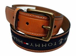 Tommy Hilfiger Men's Premium Ribbon Inlay Anchor Logo Leather Belt 11TL02X032 image 9