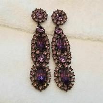 Vintage Purple Rhinestone Clip On Earrings - $29.70