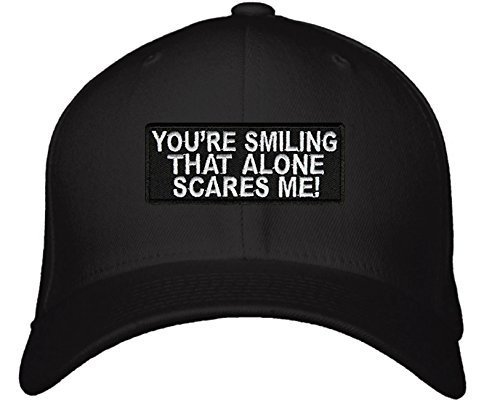 You're Smiling That Alone Scares Me! Hat - Adjustable Men's Black/White - Funny
