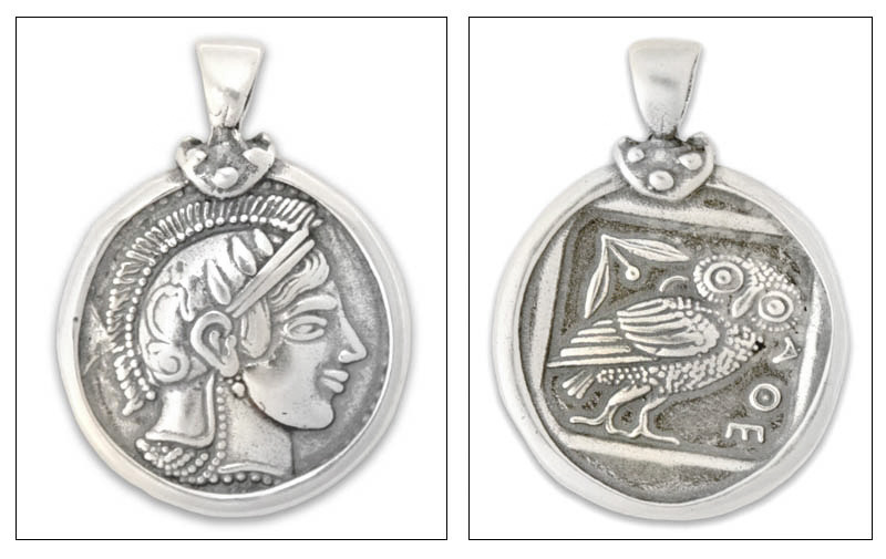Goddess Athena & Owl Tetradrachm - Sterling Silver Coin Pendant -L