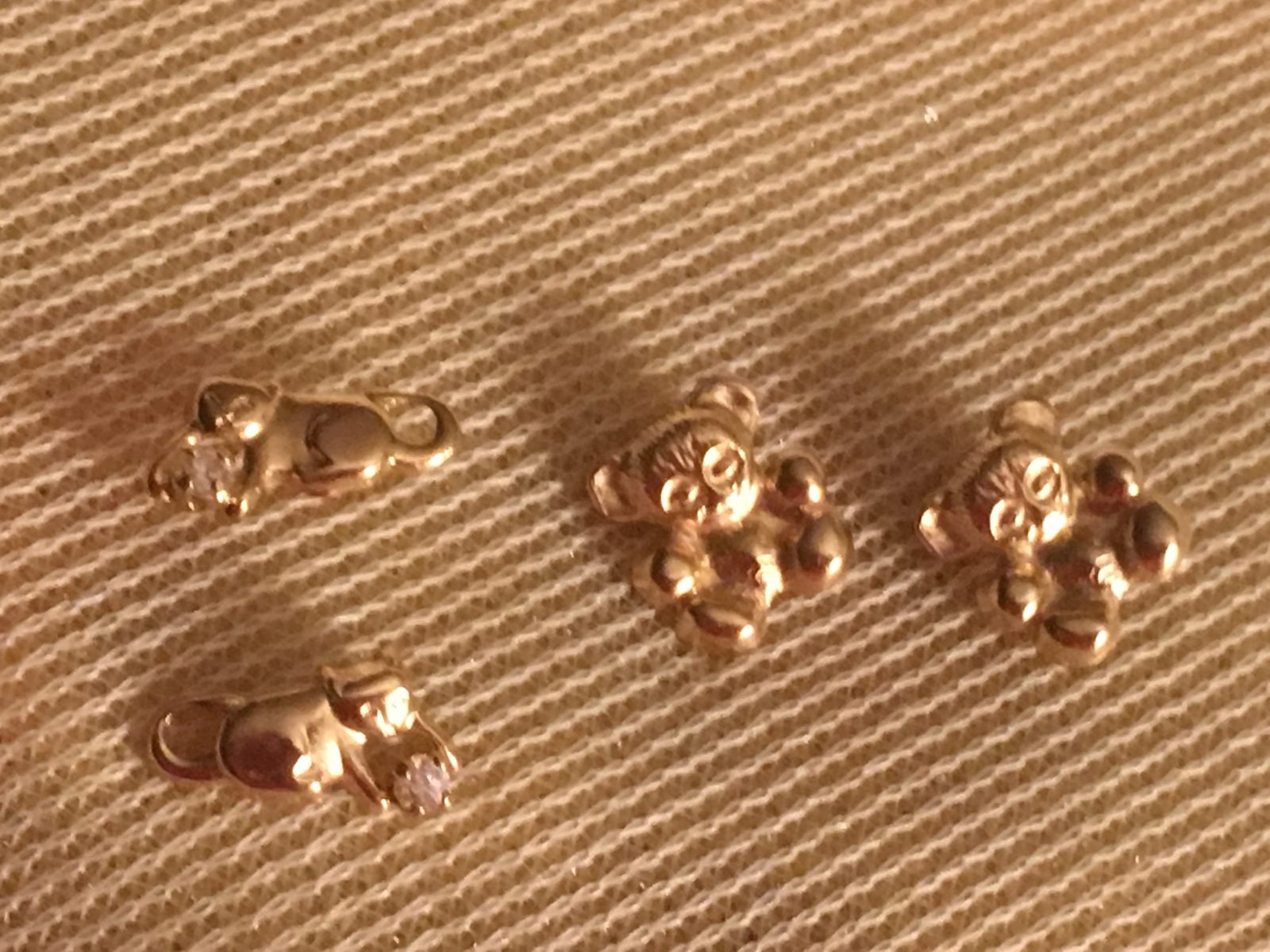 14k gold Earrings - 2 pair of kids earrings - Bears and Cats- Other