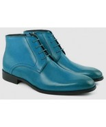 Premium Pairs Blue Color Gorgeous Looks Sterling Leather Men Chukka Ankl... - $149.99+