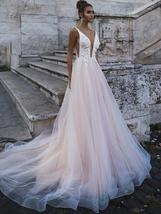 Sexy Deep V-neck Princess A-Line Sleeveless Bridal Gown Beaded Floral Appliques image 5