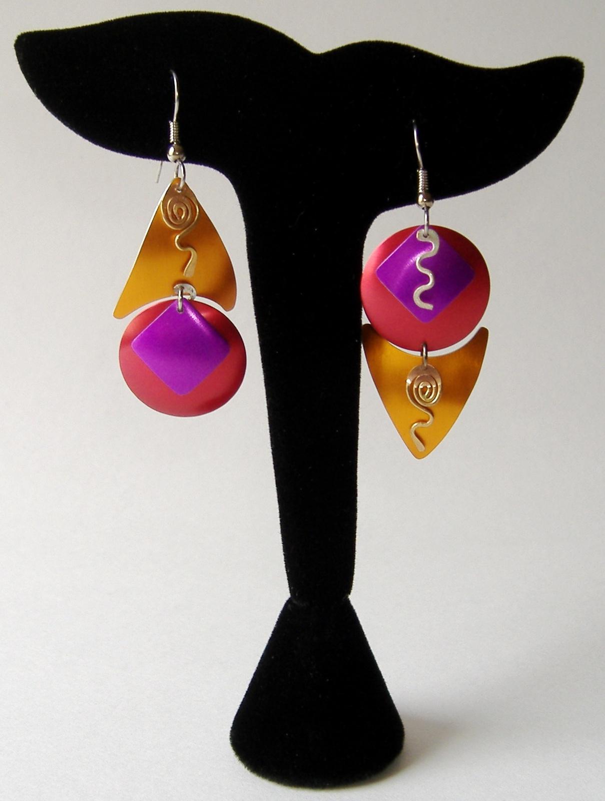 Asymmetrical Triangle Circle Earrings Unique Colorful Handmade Metal