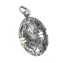 Gerochristo 3464 -  Sterling Silver Ornate Egg Locket Pendant  - $189.00