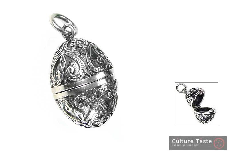 Gerochristo 3464 -  Sterling Silver Ornate Egg Locket Pendant