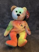 Rare Retired 1996 PEACE BEAR Ty Beanie Baby PVC Style 4053 Tag Errors - $864.27