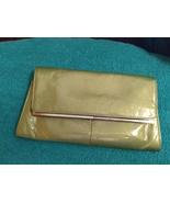 Metallic shiny green clutch bag wallet gold tone frame - $22.00