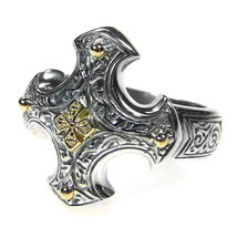 Gerochristo 2713 - Solid Gold & Silver - Medieval-Byzantine Cross Ring /... - $230.00