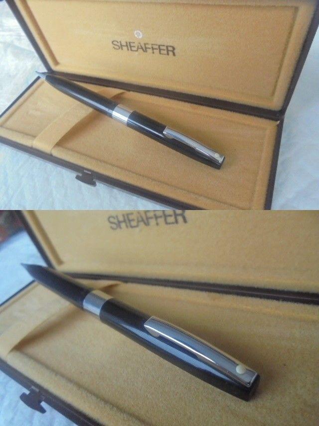 SHEAFFER IMPERIAL IV PENNA MINA MATITA NERA E ACCIAIO +SCATOLA Pencil Pen + Box