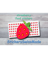 strawberry   planner stickers   food icon   for planner and bullet journal - $3.00+